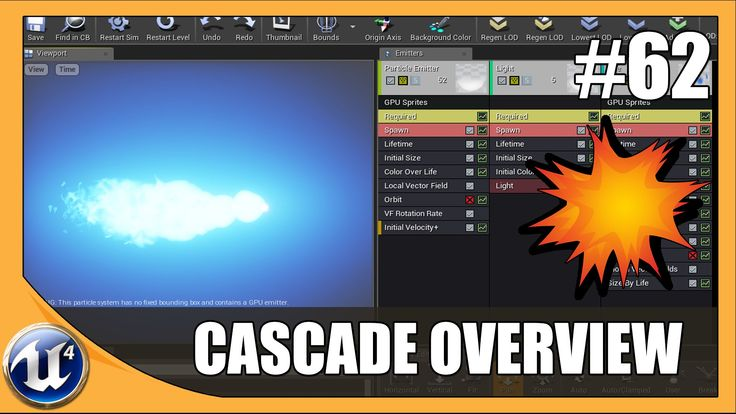 UE4, Cascade VFX Overview - we go over an interview to the cascade editor allowing us to modify and create particle effects. we go over the editor, the different sections and show you how to modify the settings of each module and how to do it in the curve editor.