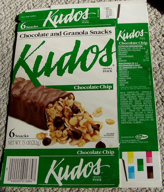 """1980s KUDOS snack bar box. I LUVVVED getting these in my lunch. My mother was totally taken in my their healthy """"granola"""" bar marketing. It was a total candy bar. And it was so good."""