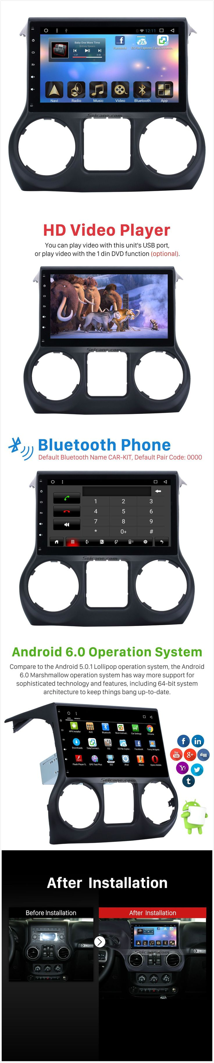 10.1 inch HD Touch Screen GPS Navigation Radio for 2015-2017 JEEP Wrangler Android 6.0 with Mirror Link OBD2 Digital TV Wifi Bluetooth Music Steering Wheel Control Rearview Camera