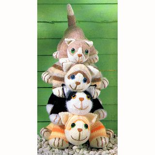 With their bright eyes, big smiles and cuddly little bodies, these cheeky cats – a tabby, a ginger tom, a black-and-white cat and an adorable moggy – are irresistible! They are knitted in 'clutch' size suitable for a toddler to carry around by the tail, or for an older child to cuddle under their arm.