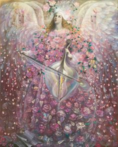 """""""The Angel of Love"""" (2010), By Annael (Anelia Pavlova) (b. 1956), Mixed Media: Oil and gold leaf on Belgian linen, Adelaide, South Australia. #angels"""