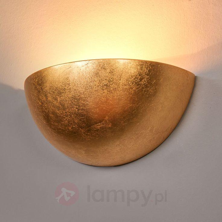 Atrakcyjna złota lampa oświetlająca ścianę Gesa 9613064