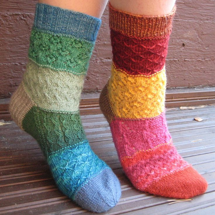 Free Knitting Pattern for Stashbuster Mad Mix Socks - This pattern contains instructions for both cuff-down and toe-up sock versions with six different stitch textures that make these socks perfect for stash-busting and scrap yarn. Designed by Virpi Tarvo