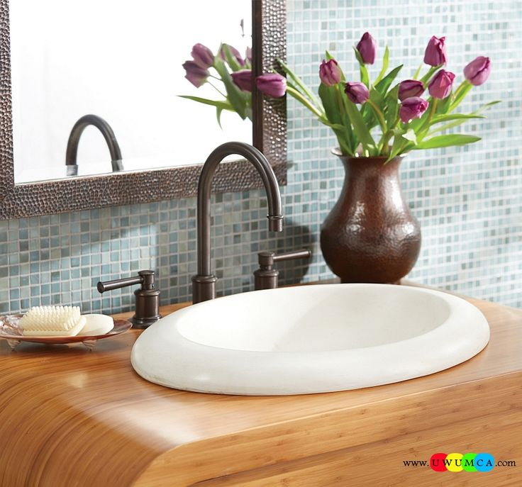 Bathroom:Contemporary Modern Artisan Crafted Sinks Handcrafted Vessel Metal Sink Bathroom Interior Furniture Decor Design Ideas Oval Shaped Sink In White On A Wooden Vanity Eco-Conscious, Artisan Crafted Sinks Sparkle With Contemporary Class