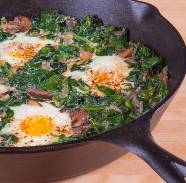 Baked Eggs with Spinach and Mushrooms