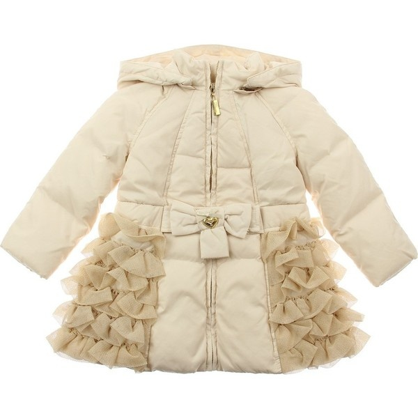 Miss Blumarine Girls Pale Beige Padded Bow Coat With Tulle Frills &... ($500) via Polyvore