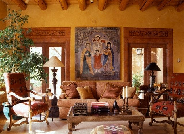 Love The Beams And Mustard Colored Walls In This Southwestern Style Living Room