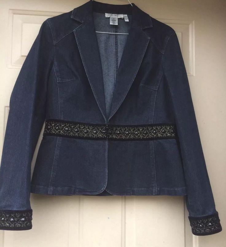 Nine West Women's Blue Long Sleeve Jean Jacket Size S  | eBay