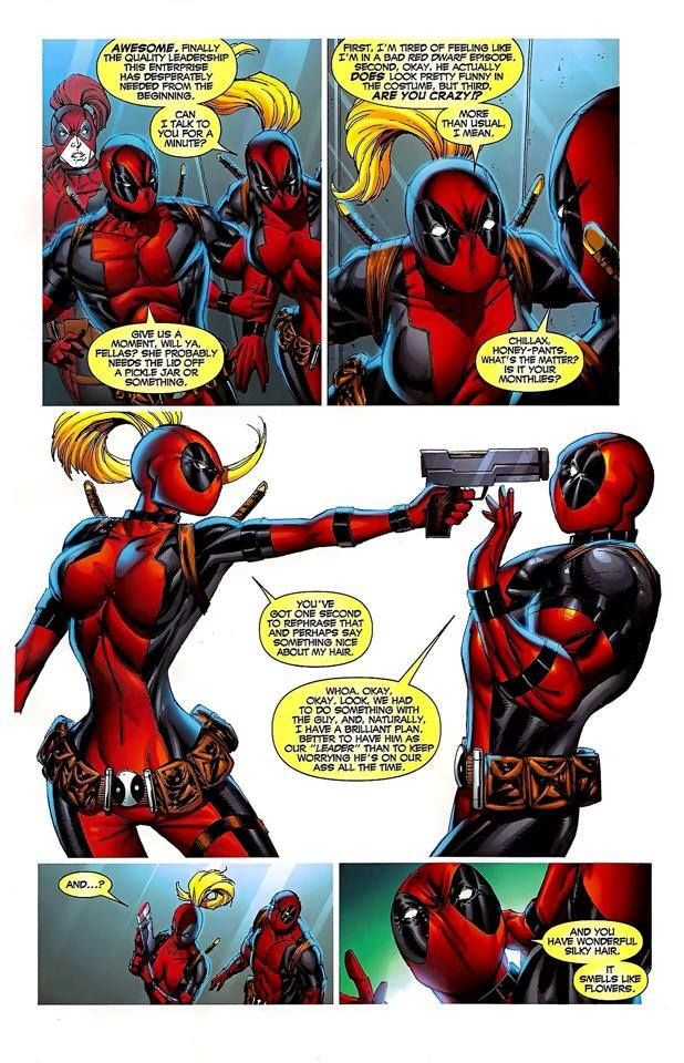 Deadpool vs Lady Deadpool wow deadpool, way to piss a lady off, good save? not even a good save, but eh. I love Lady Deadpool so much.
