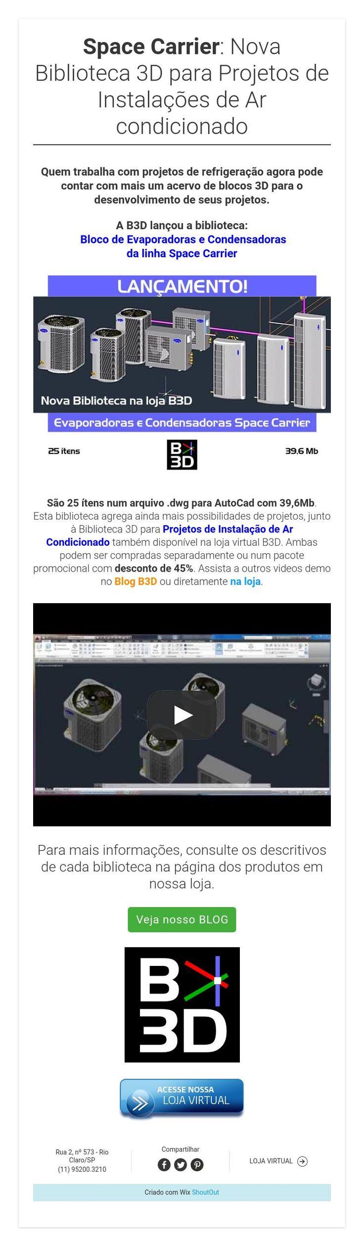 Space Carrier: Nova Biblioteca 3D para Projetos de Instalações de Ar condicionado