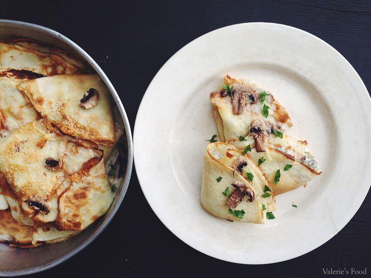 Delectează-te cu aceste clătite delicioase, umplute cu sos cremos fin de ciuperci. Este o rețetă ideală pentru un prânz sau o cină servită în orice perioadă a anului.