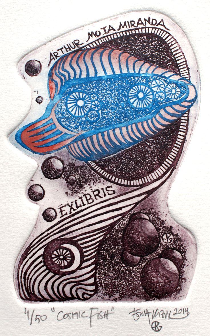 """Exlibris Arthur Mota Miranda created 2014 """"Cosmic Fish"""" by Esra Kizir Gökçen www.esrakizirgokcen.net"""