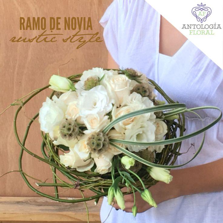 Ramo para novia estilo rústico en tonos naturales , blanco y beige