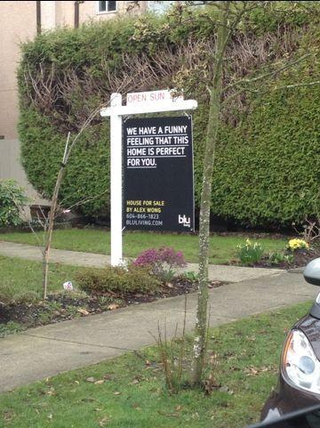 Blu real estate sign