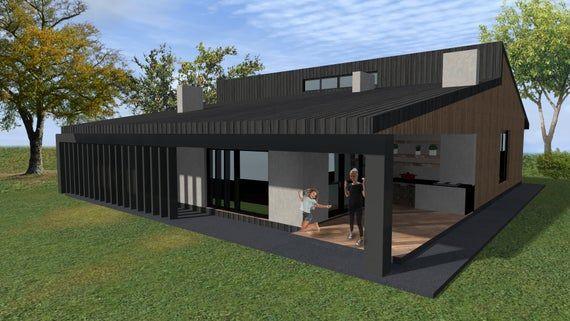 Modern House Plan Building Plans Blueprints Material List Etsy Modern House Plan Modern House Plans House Plans For Sale