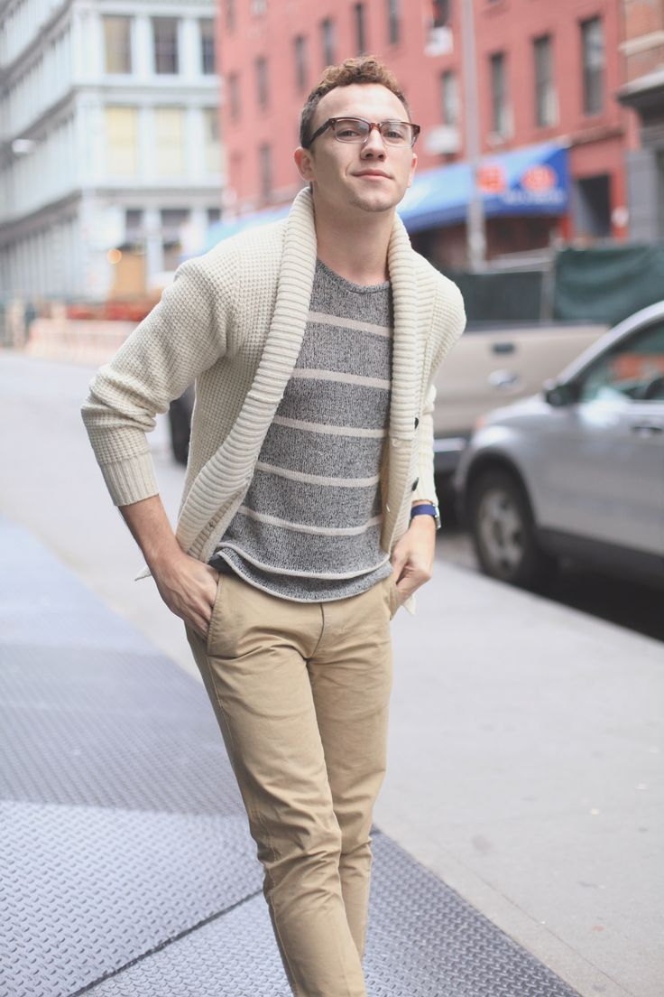 Try teaming a beige shawl cardigan with beige chinos for a work-approved look.   Shop this look on Lookastic: https://lookastic.com/men/looks/beige-shawl-cardigan-grey-crew-neck-sweater-beige-chinos/23643   — Grey Horizontal Striped Crew-neck Sweater  — Beige Shawl Cardigan  — Navy Watch  — Beige Chinos