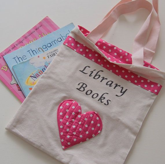 Girl's Library Book Bag by BecsCreativeBarn on Etsy, $18.00