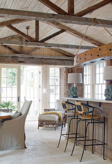 Beams ceilings and rustic bars on pinterest for House plans with exposed beams
