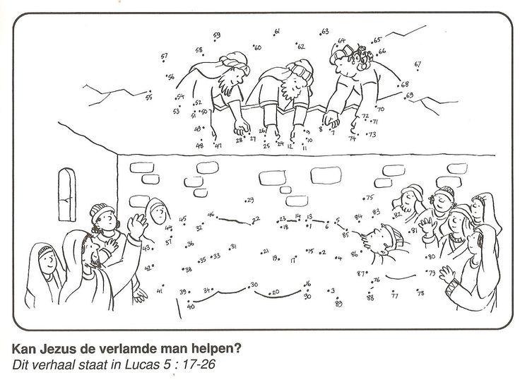 kan Jezus de verlamde man helpen, vrienden tillen verlamde man door het dak van stip naar stip
