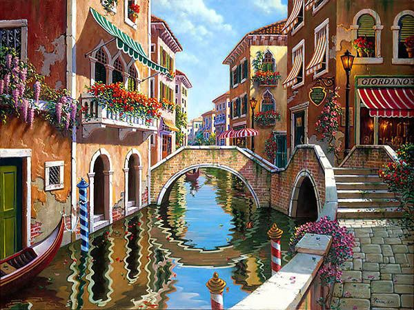 """""""Rendezvous in Venice"""" - by Bob Pejman.  It's on my dining room wall - captures Venice very well, I want to return!"""