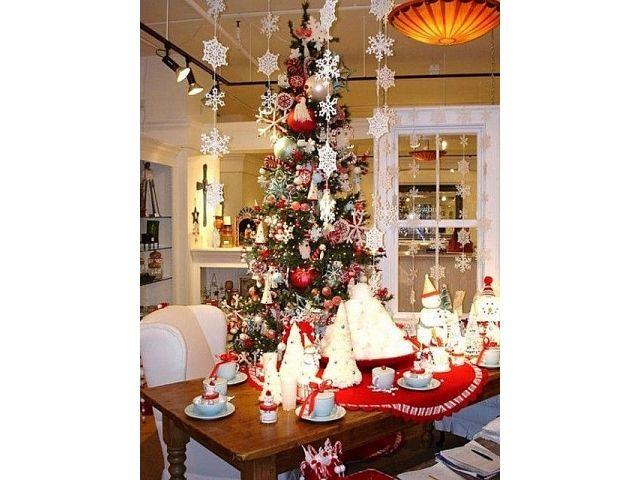 На фотографий показаны украшения к новому году. Для них отлично подойдет сочетание белого и красного цвета. Именно в таких тонах создают зимние орнаменты.