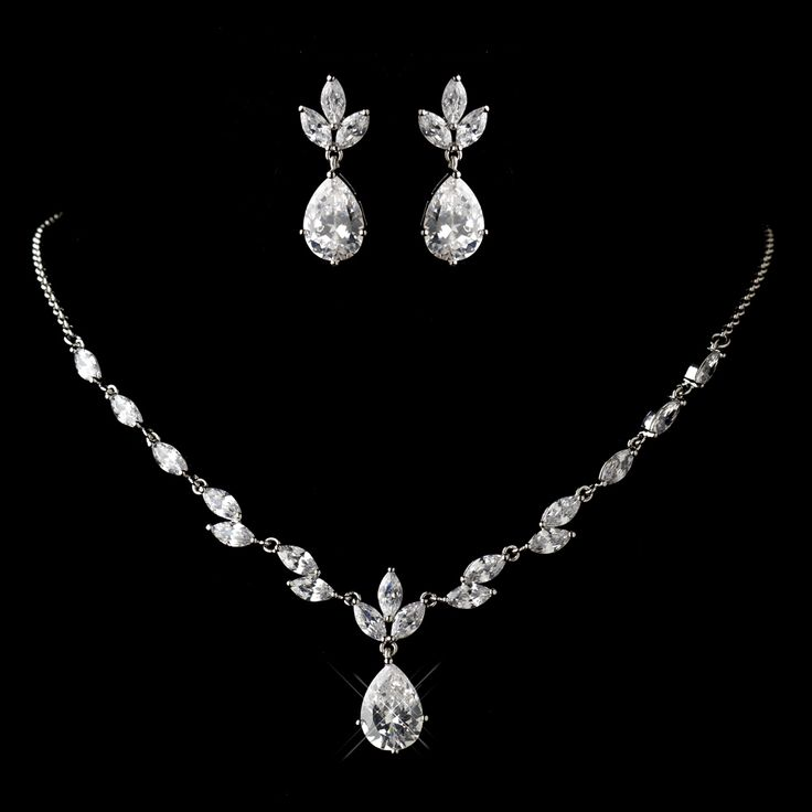 Fabulous style and sparkle from this Dainty Rhodium Plated CZ Jewelry Set  - sale! -Affordable Elegance Bridal -
