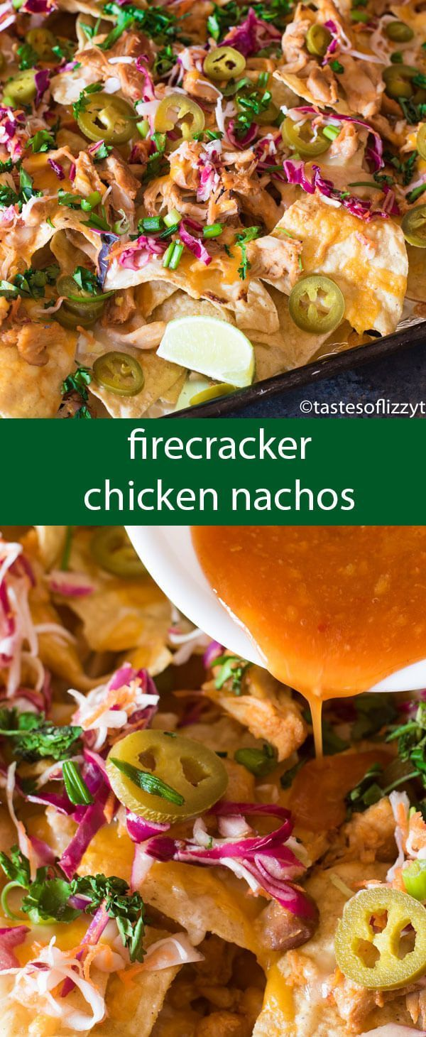Firecracker Chicken Nachos pack a flavor punch with spicy buffalo sauce and sweet chili sauce. Slow cook the chicken a day in advance for quick, 15 minute meal on those busy evenings. via @tastesoflizzyt