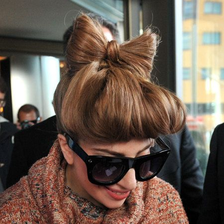 WEDDING HAIR HOW TO: Lady Gaga's cute hair bow is easy to do and would look amazing with a little birdcage veil for a retro wedding www.handbag.com