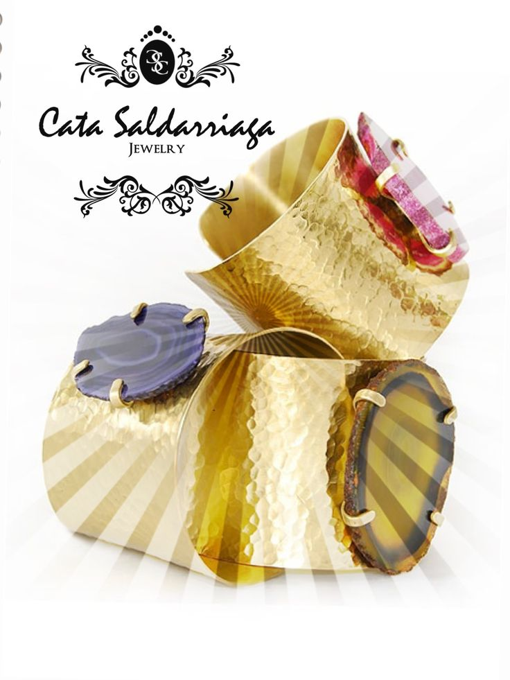 Agate Cuffs by Cata Saldarriaga Jewelry.  #cuffs#jewelry#gold#accessories#fashion#style#trends