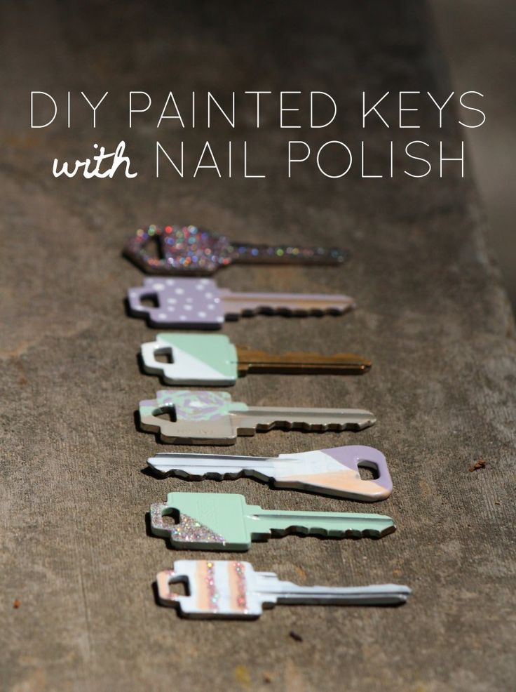 DIY painted house keys with nail polish by lharris graphics! You can use glitter…