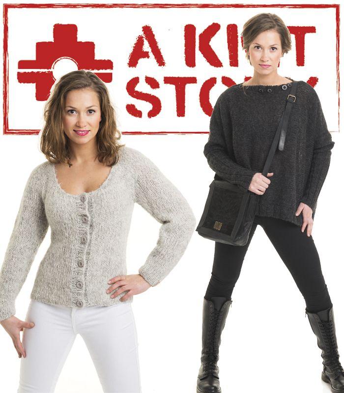Jakke og genser i supermyk børstet babyalpakka fra A KNIT STORY. Fåes som strikkepakke eller ferdig håndstrikket.