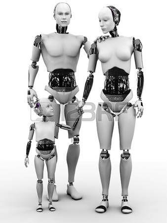 robot mujer: Una familia de robots que consiste en un hombre, mujer y niño. Blanco fondo.