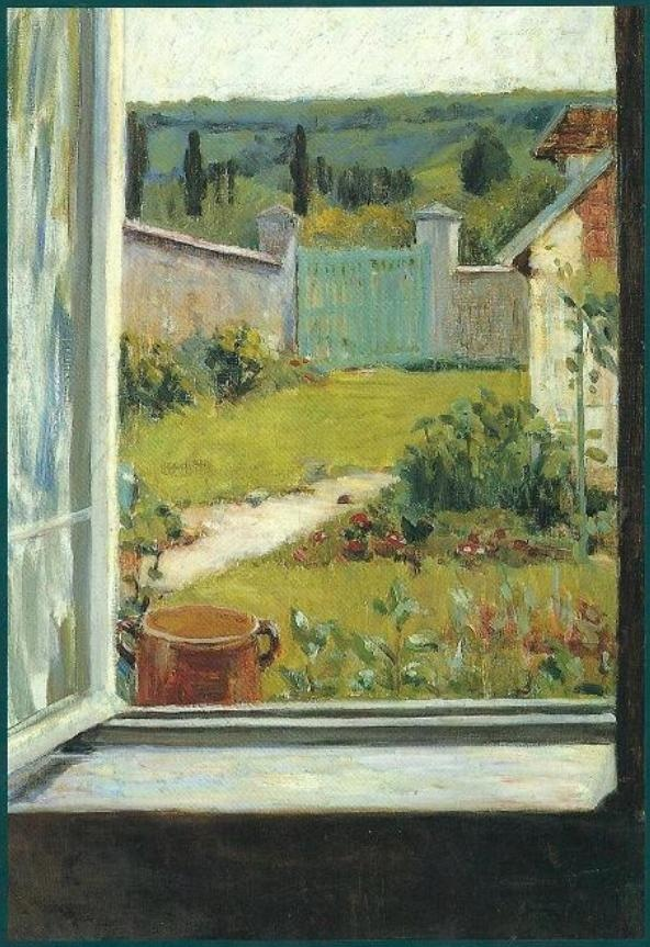 """View Through the Studio Window, Giverny,"" by American artist Mary Hubbard Foote (1899-1901).  Courtesy of Dianne's 'Here is My Heart' Blog.  As Dianne explains, ""Claude Monet's home at Giverny became an Impressionist colony which attracted many artists from various countries.""  Their paintings were indeed inspired by the landscape of Giverny."