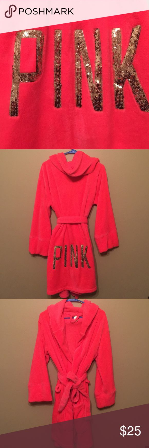 """PINK Plush Robe Luxurious soft bathrobe in a neon pink color with gold sequins """"PINK"""" on back. Excellent used condition. Size M-L. PINK Victoria's Secret Intimates & Sleepwear Robes"""