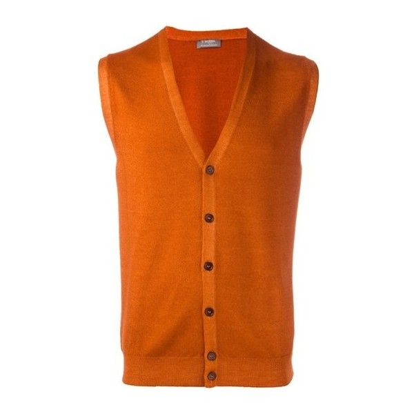BARBA Button Down Knitted Waistcoat ($191) ❤ liked on Polyvore featuring men's fashion, men's clothing, men's outerwear, men's vests, orange, mens button up sweater vest, mens button down sweater vest and mens orange vest