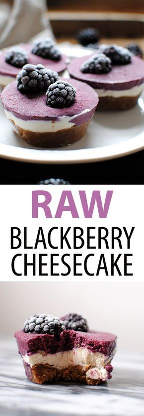 Raw Blackberry Cheesecakes are raw, vegan, gluten free, and delicious. Just 8 ingredients: coconut milk, shredded coconut, maple syrup, dates, walnuts, cashews, coconut oil, and blackberries // raw cheesecake // raw dessert // blackberry dessert // healthy dessert // gluten free dessert