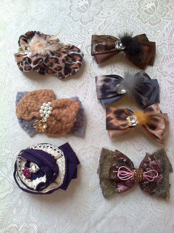 Lot of 7 fantastic hair clips real jewels 3 by Vintageandelegant, €28.00