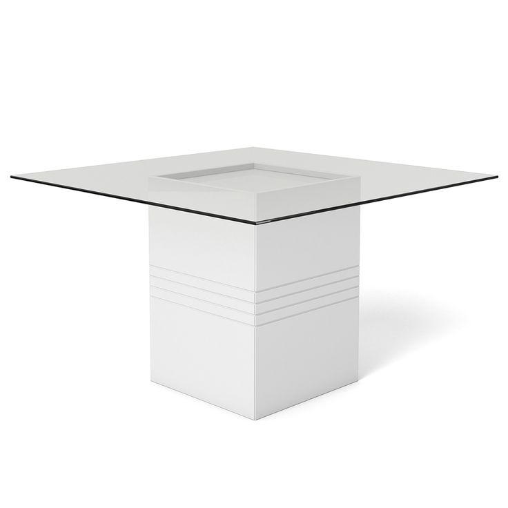 Mesa de Jantar Quadrada 6 lugares, Tampo em Vidro Incolor, Branco Gloss, Lord - toqueacampainha