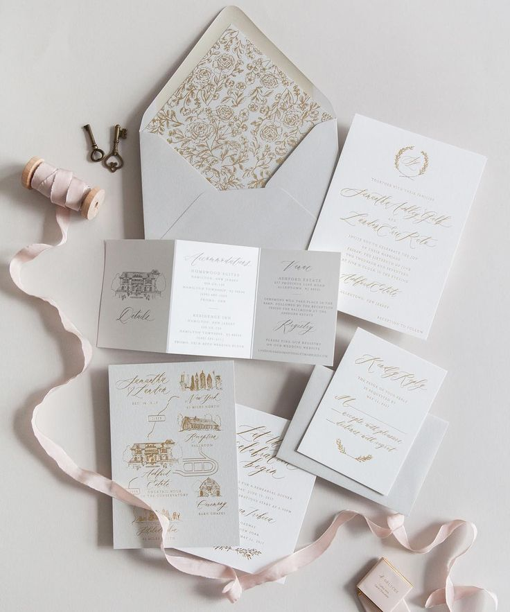how to address wedding invitations inside envelope%0A This was one of our fave u    s this year  Pale gray and gold and touch of blush           we love our semicustom clients that also have a custom vision