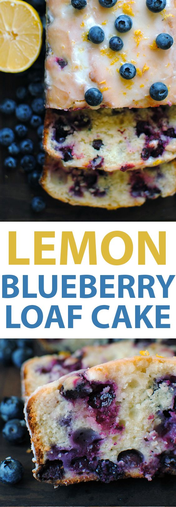 This Lemon Blueberry Loaf Cake is made with lemon juice, lemon zest, fresh juicy blueberries, Greek yogurt, and topped with a sweet lemon glaze.