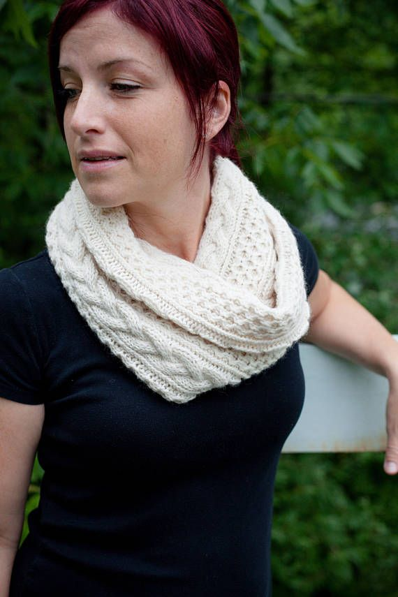 Almost Aran Infinity Scarf Knitting Pattern Cable Knit Infinity