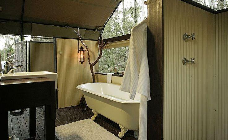 Paperbark Camp deluxe tent bathroom.
