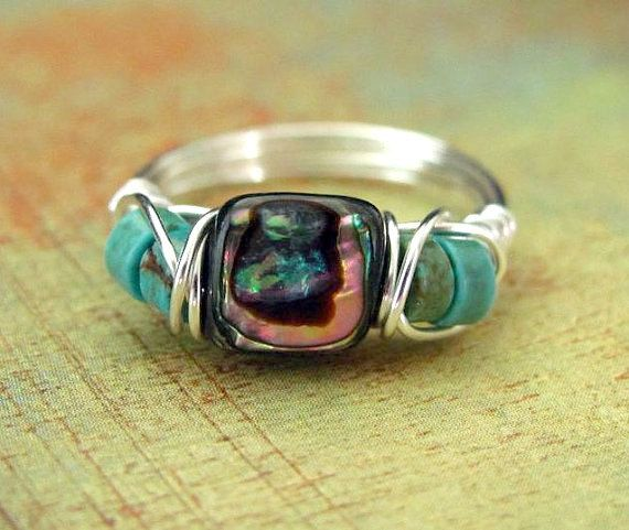Wire Wrapped Ring Abalone Paua Shell Wire Wrapped Jewelry Nickel Free Silver Wire Ring by PolymerPlayin on Etsy