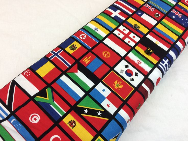 "World Flags Print Fabric--Black, Red Blue Yellow Green Orange World Flags--Riley Blake ""Our World Flags"" in Black--Fabric by the HALF YARD by MoreLoveMama on Etsy"