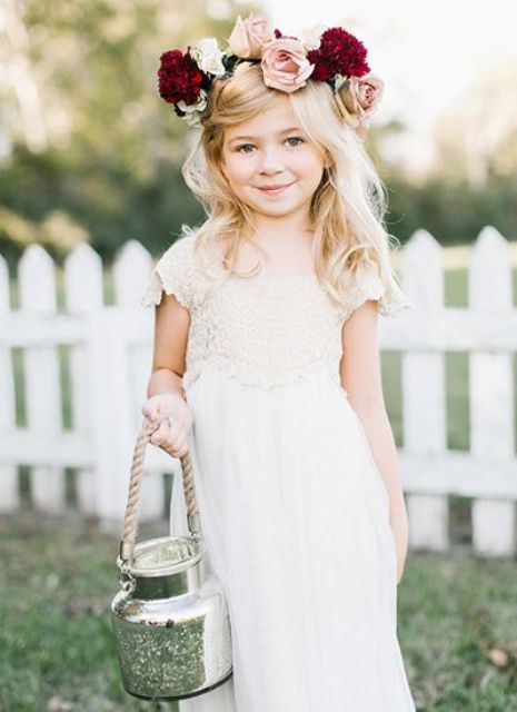 20 Fall Flower Girl Outfits That Are Just Too Cute: #2. White lace dress with a bold fresh flower crown