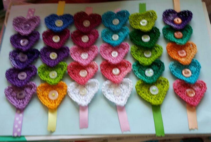Crochet Heart Bookmarks