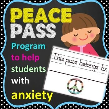 """The """"Peace Pass Program is a Classroom Anxiety ManagementSystem for counselors or teachers to use with students suffering with anxiety or panic.  Give your students the peace of mind in knowing that if they begin to experience symptoms of panic or anxiety, that they will be free to go to their designated stress free zone simply by turning in a """"peace pass"""" to their teacher.Includes the following:  -printable """"peace passes"""" -printable parent and teacher tip sheet -printable """"peace plan"""" sheet…"""