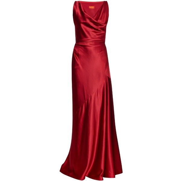 Vivienne Westwood Red Label Amber stretch-satin gown found on Polyvore featuring dresses, gowns, evening gowns, iltapuvut, long dresses, red, red gown, red evening dresses, long red dress and cowl neck dress