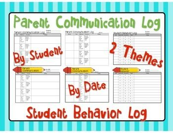 PARENT COMMUNICATION LOG / STUDENT BEHAVIOR LOG - TeachersPayTeachers.com