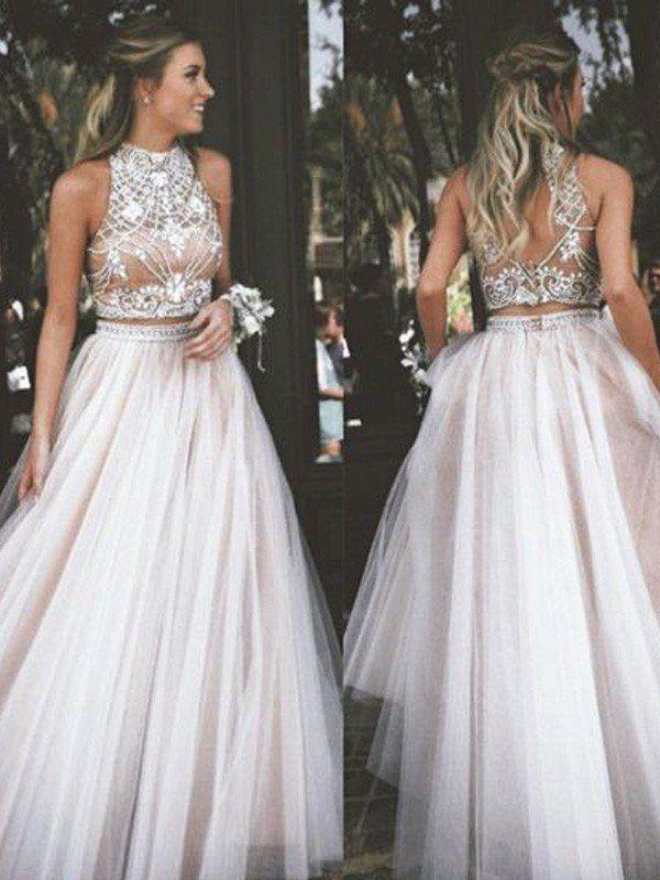 A-Line/Princess Sleeveless High Neck Tulle Beading Floor-Length Dresses - Hebeos Online